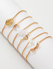 Fashion Gold Love Love Shell Bracelet 6 Piece Set