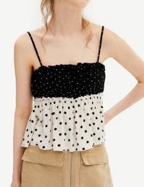Fashion Wave Point Stitched Dot Halter Top