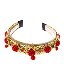 Fashion Gold Carved Rose Flower With Drill Hoop