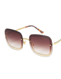 Fashion Gold Frame Tea Flat Gradient Sunglasses