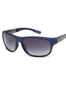 Fashion Blue Frame Gray Piece Elliptical Curved Sunglasses