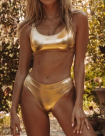 Fashion Gold Bright Leather High Waist Bikini