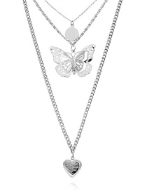 Fashion White K Three-dimensional Wafer Butterfly Hollow Heart Open Multi-layer Necklace