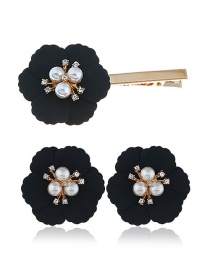 Fashion Black Alloy Flower Pearl Earrings Hair Clip Set