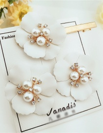 Fashion White Alloy Flower Pearl Earrings Hair Clip Set