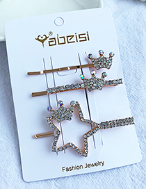 Fashion White Alloy Diamond Five-pointed Star Crown Hair Clip Set