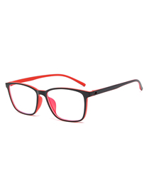 Fashion Black Red Frame C5 Ultra-light Anti-blue Box Blue Film Flat Mirror Glasses