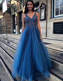 Fashion Blue Open Back Sequined Mesh Stitching Dress