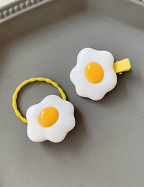 Fashion Poached Egg Hair Rope + Hair Clip Poached Egg Hair Rope Hairpin Set