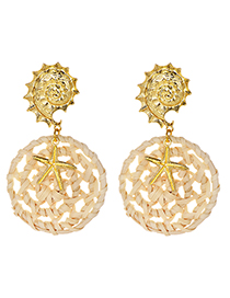 Fashion Gold Alloy Round Conch Rattan Hollow Round Earrings