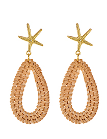 Fashion Gold Alloy Starfish Rattan Water Drop Shape Earrings