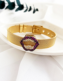 Fashion Gold Stainless Steel Copper Inlay Zircon Lip Bracelet