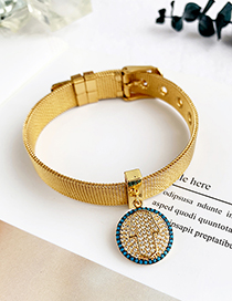 Fashion Gold Stainless Steel Copper Inlay Zircon Round Palm Bracelet