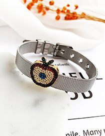 Fashion Silver Stainless Steel Copper Inlay Zircon Apple Bracelet