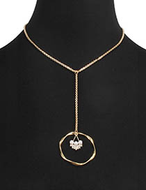 Fashion Gold Box With Diamond-like Pearl Circle Alloy Flower Necklace