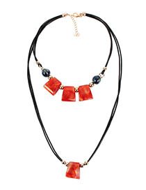 Fashion Red Two-color Shaped Bead Wax Rope Sweater Chain