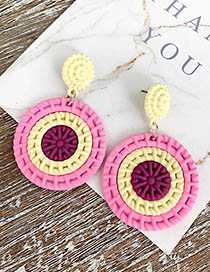 Fashion Pink Alloy Resin Round Color Matching Earrings