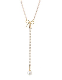 Fashion Gold Bow And Diamond Necklace
