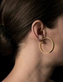 Fashion Gold Large Circle Beaded Alloy Earrings