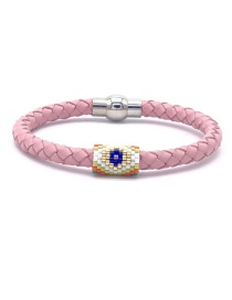 Fashion Color Beizhu Stainless Steel Leather Braided Eye Bracelet
