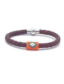Fashion Orange Beizhu Stainless Steel Leather Braided Bracelet