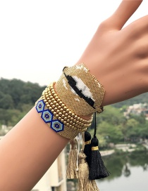 Fashion Golden Suit 4mm Glass Beads Lips Eyes Rice Beads Woven Bracelet
