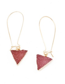 Fashion Red Imitation Natural Stone Triangle Resin Earrings