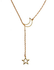 Fashion Gold Moon Star Adjustable Necklace