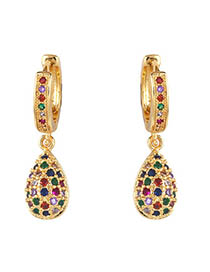 Fashion Water Droplets Zircon Drop Star Earrings