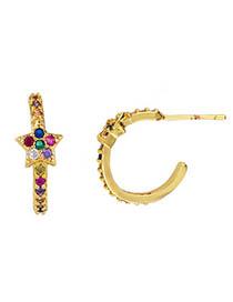 Fashion Star Gold Zircon Drop Star Earrings