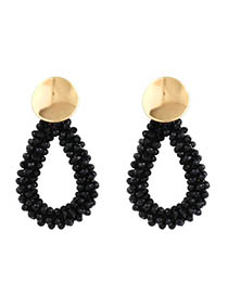 Fashion Black Crystal Rice Beads Drops Geometric Earrings