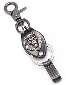 Fashion Ancient Silver Leather Rope Woven Metal Lion Keychain