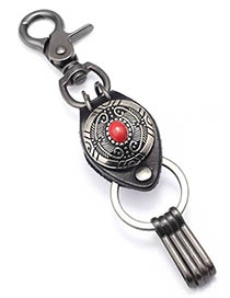 Fashion Red Pine Feather Turquoise Alloy Leather Keychain