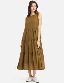 Fashion Armygreen Sleeveless Tiered Maxi Dress
