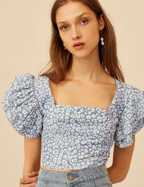 Fashion Color Square Collar Puff Sleeve Top
