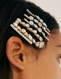 Fashion Color Acrylic Diamond Hair Clip 5 Piece Set