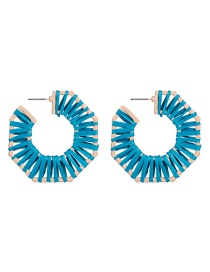 Fashion Blue Octagonal Raffia Woven Geometric Earrings