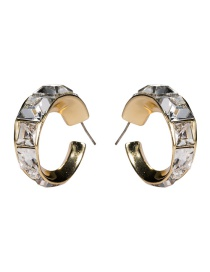 Fashion White S925 Silver Pin C-shaped Outer Diamond-studded Earrings