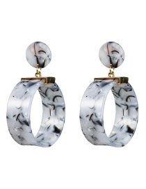 Fashion Gray Cylinder Marbled Acetate Plate Earrings