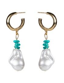 Fashion White Turquoise Irregular Natural Stone Earrings
