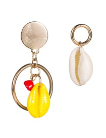 Fashion Yellow Alloy Ring Shell Asymmetric Earrings Two Pairs