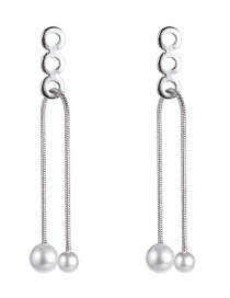 Fashion Silver Alloy Rope Pearl Earrings