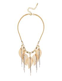Fashion Gold Leaf Tassel Necklace