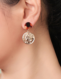 Fashion Gold Acrylic Plate Human Face Relief Earrings