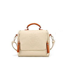 Fashion Creamy-white Double Pull Crown Shoulder Bag Shoulder Bag