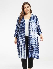 Fashion Blue Cotton Tie-dyed Cardigan