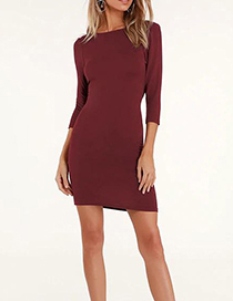 Fashion Red Wine Cropped Sleeve Backless Dress