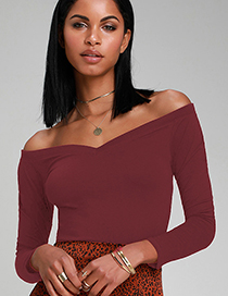 Fashion Red Off-the-shoulder Big V-neck T-shirt