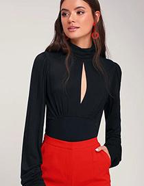 Fashion Black High Collar Open Chest Folds Milk Silk T-shirt