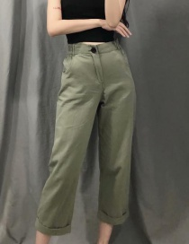 Fashion Armygreen Cotton Washed Pants
